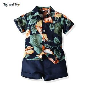 Топ и топ, модные комплекты повседневной одежды для маленьких мальчиков, летняя рубашка с короткими рукавами и цветочным принтом + шорты, ко...