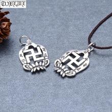 Handmade 100% 925 Silver Tibetan Six Words Charm Vintage Thai Silver Buddhist Wanzi Symbol Small Pendant Small Tibetan Amulet