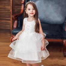 Summer New Girls Puff Princess Dress Children Evening Baby Beaded Embroidered Flower Girl Wedding Party