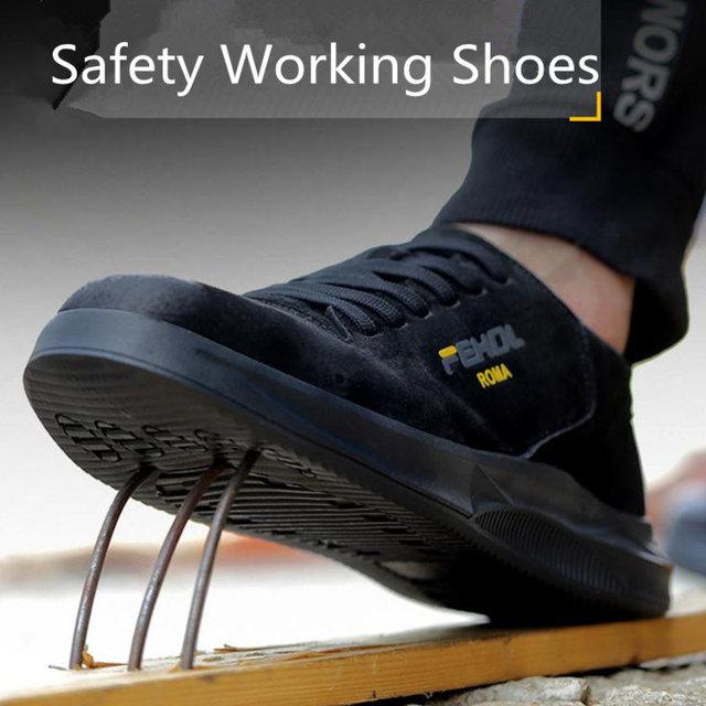 2019 الرجال الصلب تو حذاء امن للعمل عادية تنفس في الهواء الطلق أحذية رياضية ثقب برهان الأحذية انقسام الجلود الذكور الأحذية الصناعية