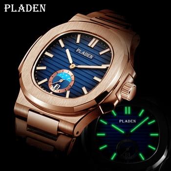 PLADEN Unique Watch Men Luxury Gold Mens Watches Top Brand Luxury Stainless Steel Mens Fashion Blue Quartz Watch Gifts For Men