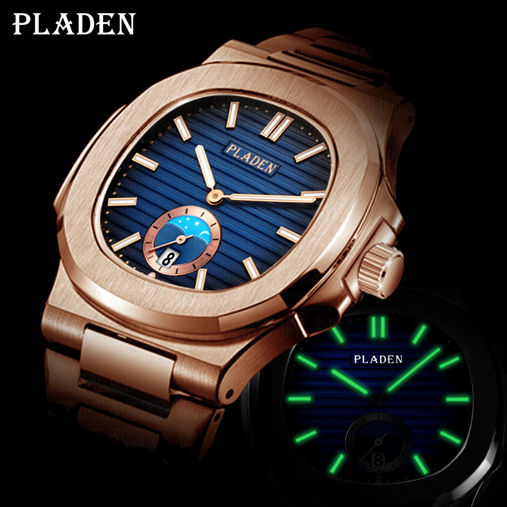PLADEN Unique Watch Men Luxury Gold Mens Watches Top Brand Luxury Stainless Steel Mens Fashion Black Quartz Watch Gifts For Men