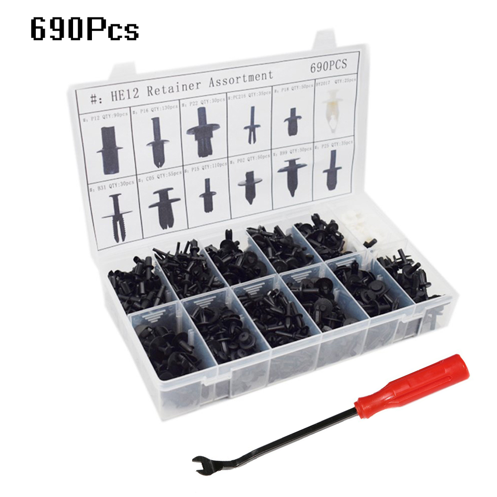 690Pcs Assorted Car Body Push Retainer Pin Rivet Fasteners Trim Moulding Clip Expansion Screws Kit With Removal Tool Screwdriver