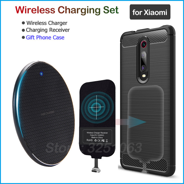 Wireless Charging for Xiaomi Mi 8 9 SE Lite 9T Pro 5X 6X A1 A2 A3 CC9e CC9 F1 Wireless Charger+USB Type C Receiver Gift TPU Case