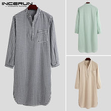 INCERUN 7 – Robes à carreaux pour hommes, vêtements de maison, doux, manches longues, chemise de nuit confortable, 5XL