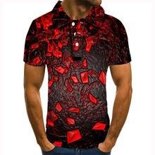 Рубашка поло мужская с 3d принтом повседневная коротким рукавом