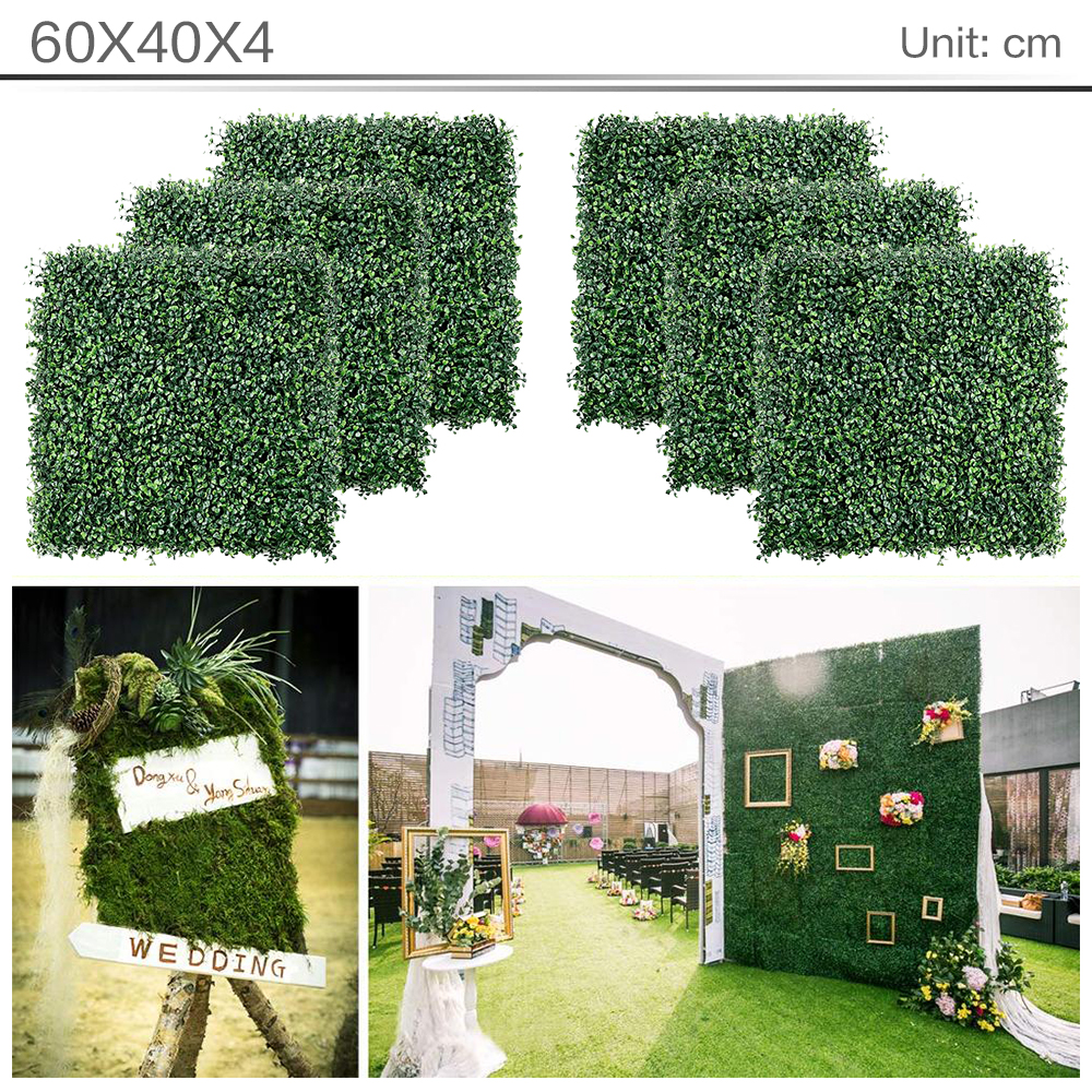 6pcs Decorations 40*60cm Artificial Grass Lawn Turf Simulation Plants Landscaping Wall Decor Green Plastic Lawn Door Shop Imag
