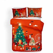 Christmas Day Tree House Comforter Set Skin-friendly Bed Duvet Cover Pillow Case Double Queen King Size Home Hotel Bedding Set(China)