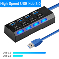 Концентратор USB 3,0, концентратор 2,0, разветвитель с несколькими портами USB 4/7, разветвитель с переключателем для ПК