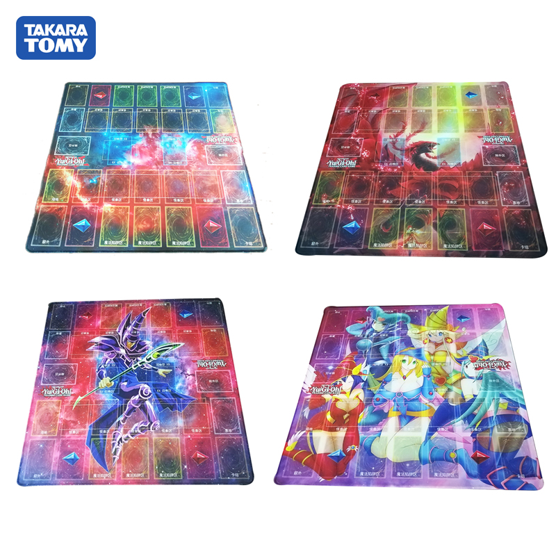 TAKARA TOMY 55*55cm YU GI OH Duel Masters Play Mat Four Card Group Duel Disk Card Pad TCG Venue Gamepad Package