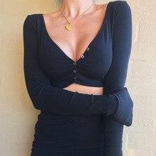 Women Crop Tops Summer Elegant Button Long Sleeve Female Sexy Wild Ladies Casual Short Black White 2019