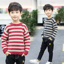 2019 New Autumn Winter Boys Wool Knitted Cardigan Sweater Thin Cloth Cotton Jacket Long Sleeve Striped Christmas Sweater Kids