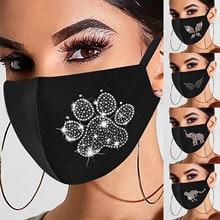 Mascarilla con estampado de diamante para mujer, máscara moderna, Lavable, 2021, #357