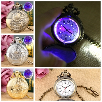 Noctilucent LED Flash Quartz Pocket Watch Unique Bronze/Silver/Gold Train Locomotive Engine FOB Luminous Chain Hour Luxury Clock - discount item  15% OFF Pocket & Fob Watches