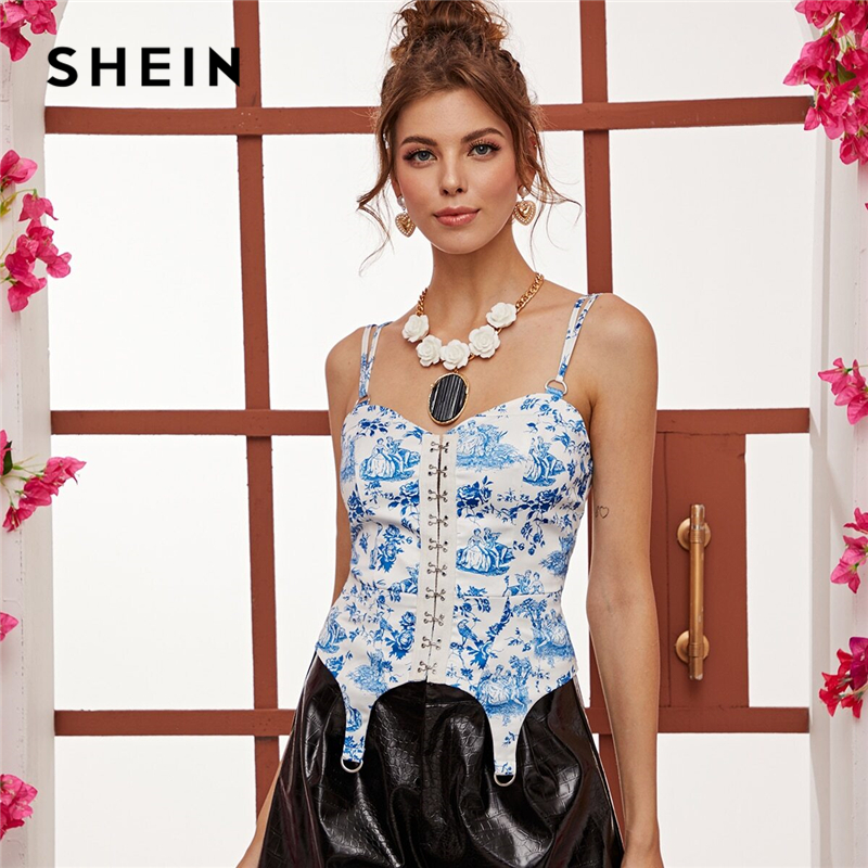 SHEIN Blue Hook And Eye Floral And Figure Print Cami Top Women Tops Spring Summer Ring Detail Spaghetti Strap Elegant Vests