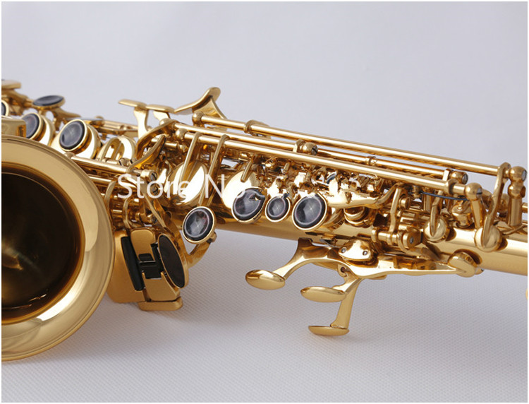 high quality SC W010 Small Curved Soprano Saxophone Electrophoresis Gold Sax B Flat Instruments with Accessories Case Free Ship - 5
