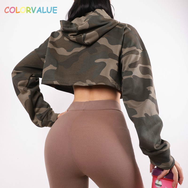 Colorvalue CAMO Workout Fitness Gym Crop Hoodies Women Loose Fit Cotton Dance Yoga Sport Cropped Sweatshirts Tops Activewear