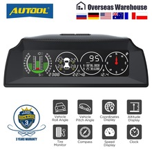 Clock Meter-Inclinometer HUD Car-Compass Speed-Slope Autool X91 All-Vehicle TPMS Protractor
