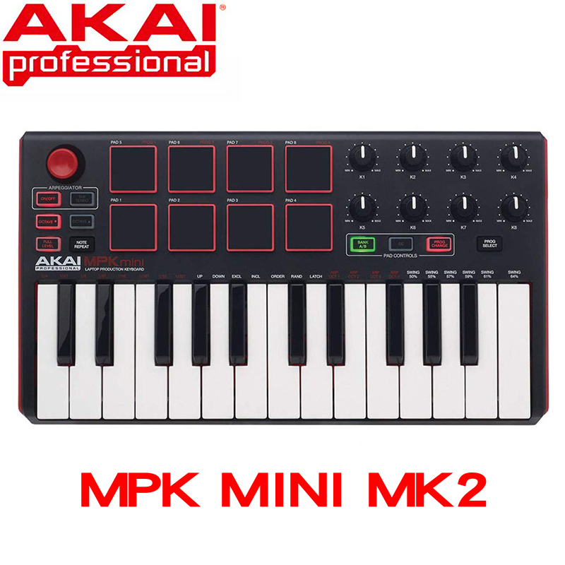 Akai Professional MPK Mini MK2 MKII - 25 Key Ultra Portable USB MIDI Drum Pad And Keyboard Controller