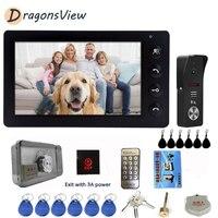 DragonsView Door Intercom 7 inch Video Door Phone Entry System Kit Wired RFID Doorbell Camera 1200TVL for Home Villa Building