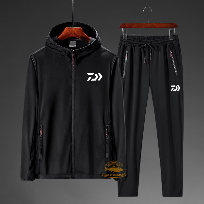 2020 DAIWA New Fashion Summer Thin Ice Silk Suit Men's Fishing Sunscreen Jacket Cycling Elastic Loose Two-piece Breathable Set
