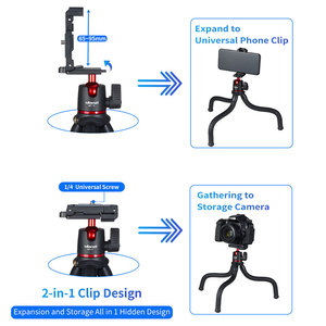 Image 2 - Ulanzi MT 11 Portable Octopus Tripod 2 in 1 Foldable Phone Clip Magic Arm Quick Release Plate With Cold Shoe Mount Clamp Holder