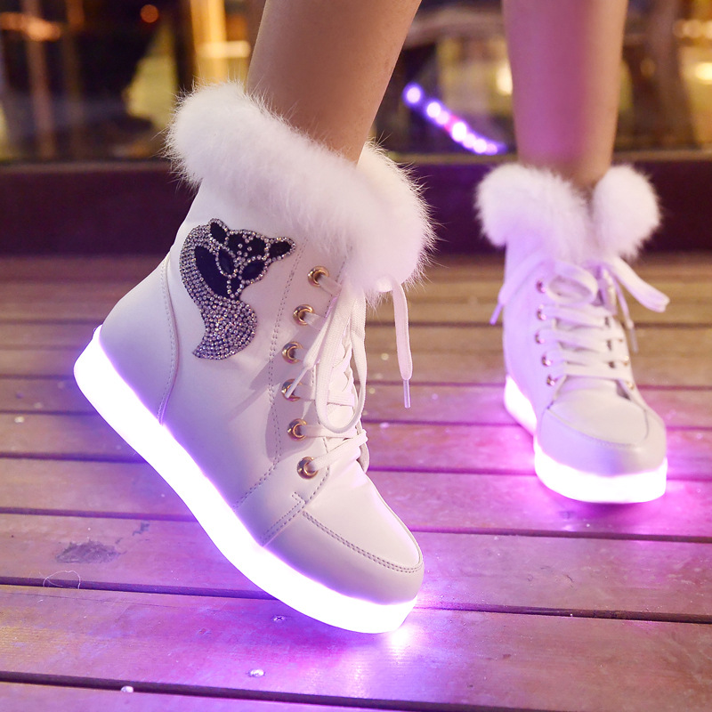 Winter High Help Usb Charging Glow Shoes With Seven Colorful Lights Female Luminous Fluorescent Shoes Street Dance Lights Board
