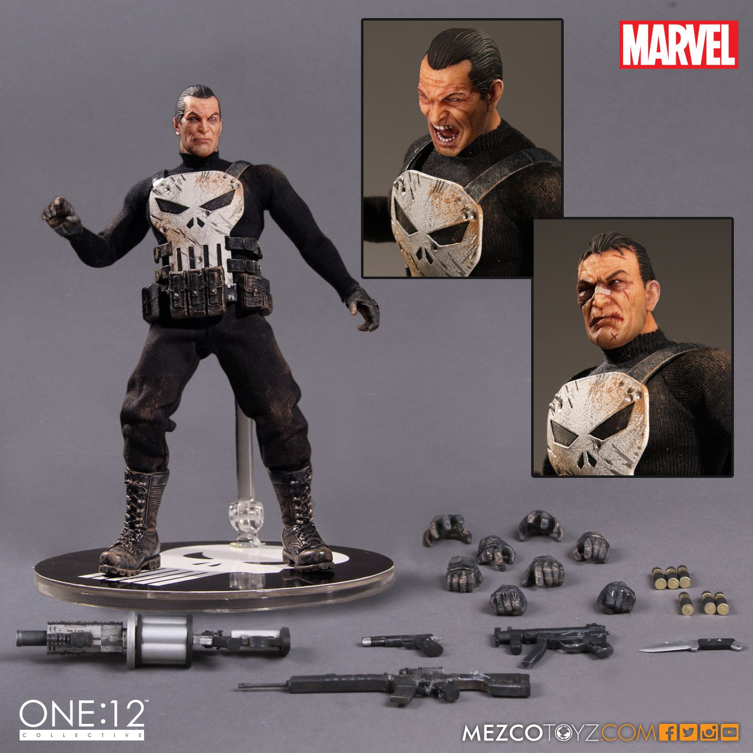 6 Inch Marvel Mezco: 12 The Punisher PVC Collectible Model Toy Action Figure15cm