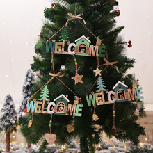 New Year Xmas DIY Christmas tree Welcome Wording Signs Wooden Crafts Hanging Ornament for Home Door Window Wall Tree Decoration