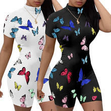 Echoine Summer Sexy Butterfly Print Sport Women Jumpsuits Rompers Club Party Outfits Playsuit Overal