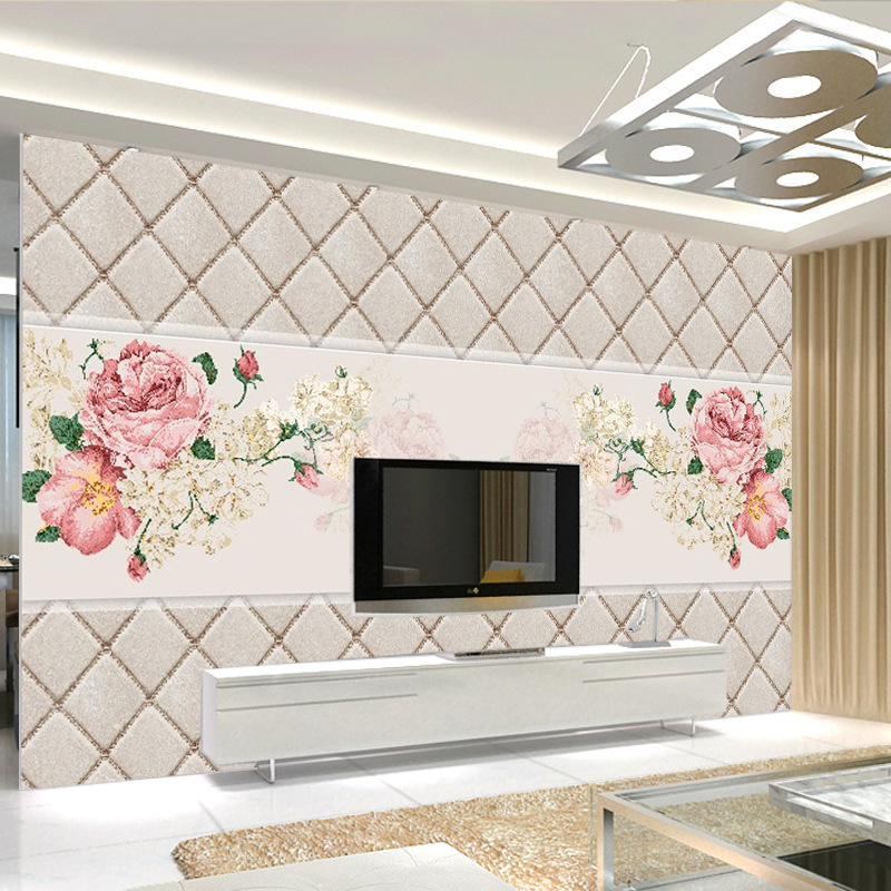 TV Backdrop Wallpaper Painting 3D Modern Flower Sofa Living Room Nonwoven Fabric Waterproof Wallpaper Mural