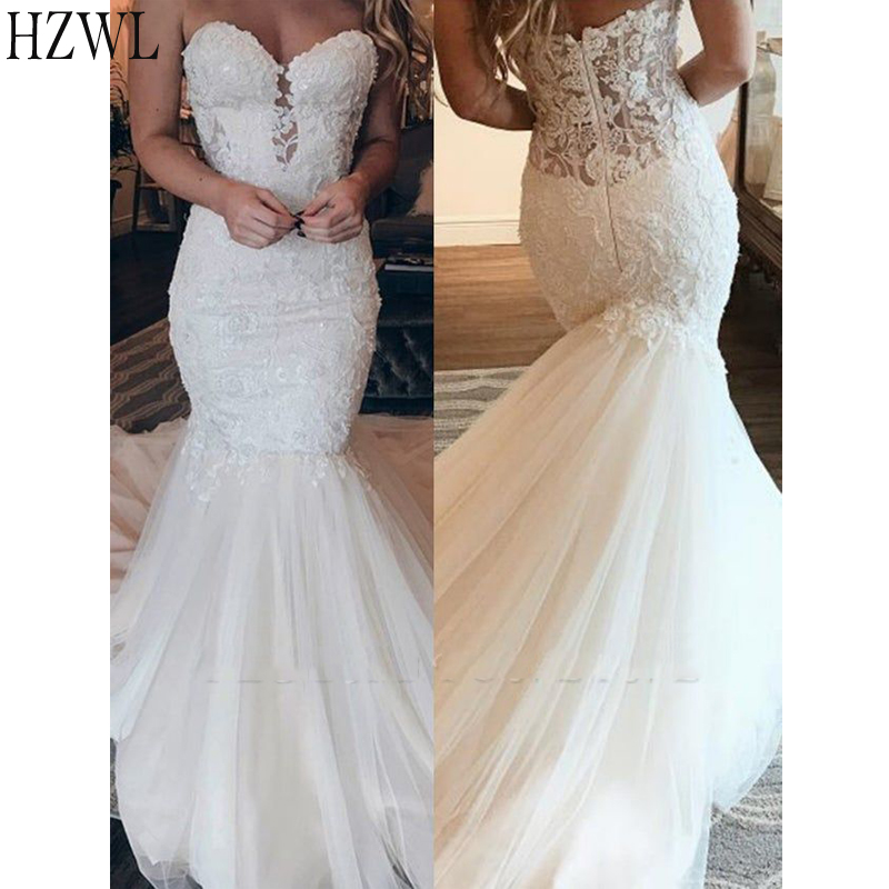 Stunning Lace Mermaid Wedding Dresses Sweetheart Bridal Dresses Vestido De Noiva Zipper Back Sweep Train свадебные платья