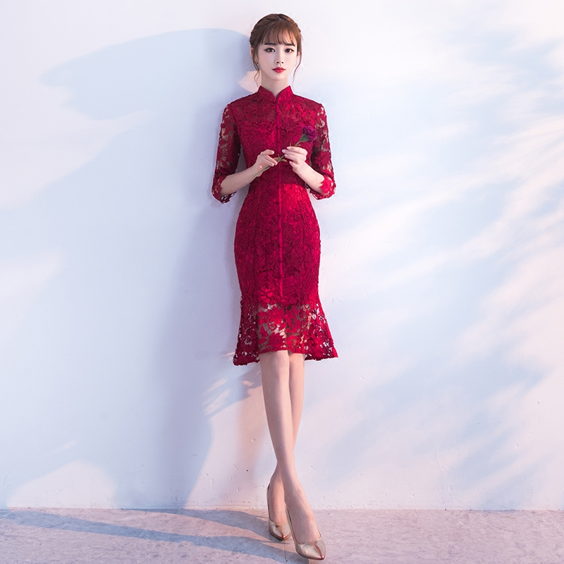Spring-Evening-Party-Gowns-Qipao-Traditional-Chinese-Women-Wedding-Dress-Slim-Red-Lace-Half-Sleeve-Mandarin (1)