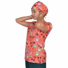 Hennar Women Printed M ical Uniforms Cartoon Print Scrub Top V Neck Short Sleeve 100% Cotton scrubs Top