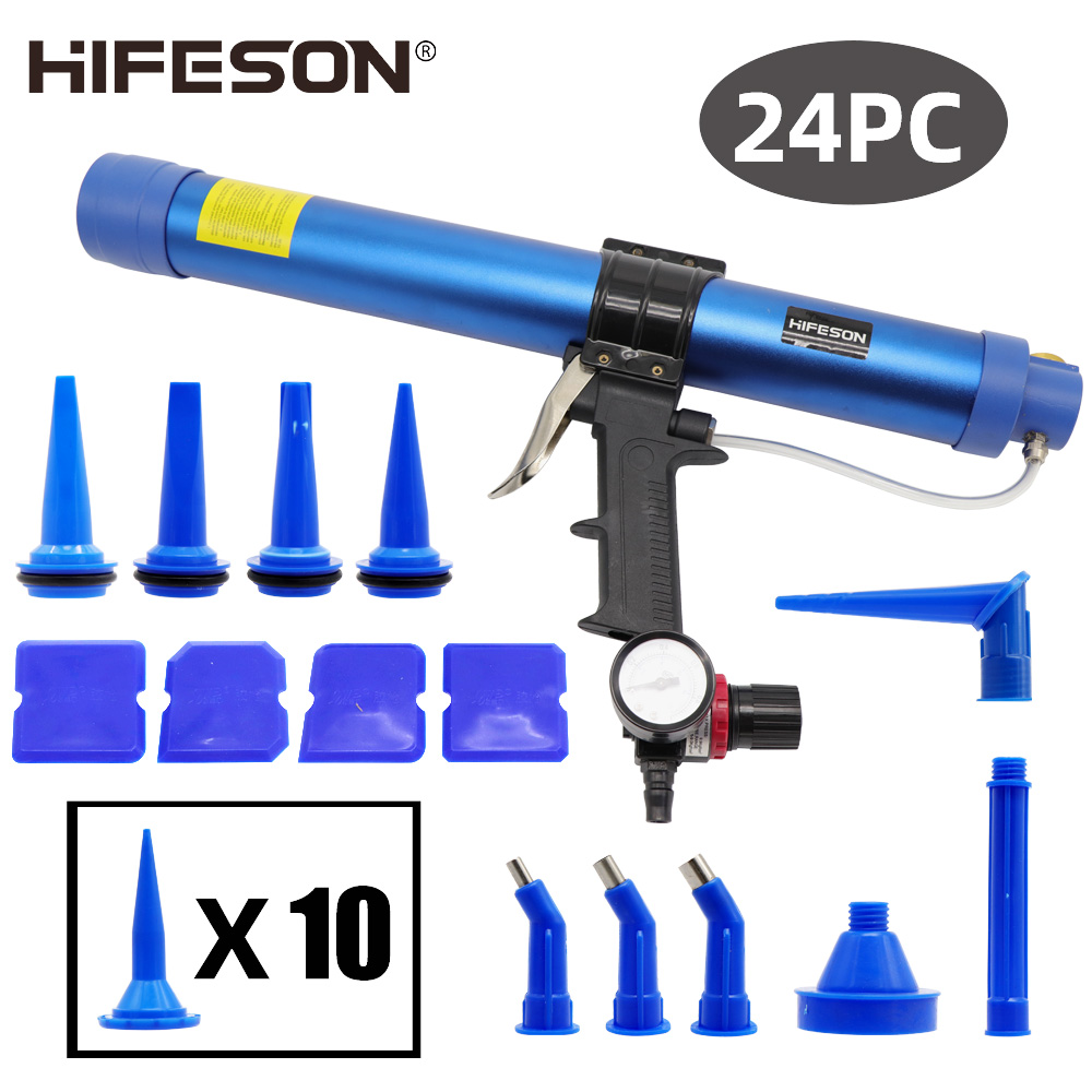 Pneumatic Sealant gun 600ml Air Gun Valve Silicone Sausages Caulking Tool Caulk Nozzle Glass Rubber Grout Construction Tools