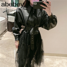 2020 Spring New Jackets Women Fashion Solid Color Long Mesh