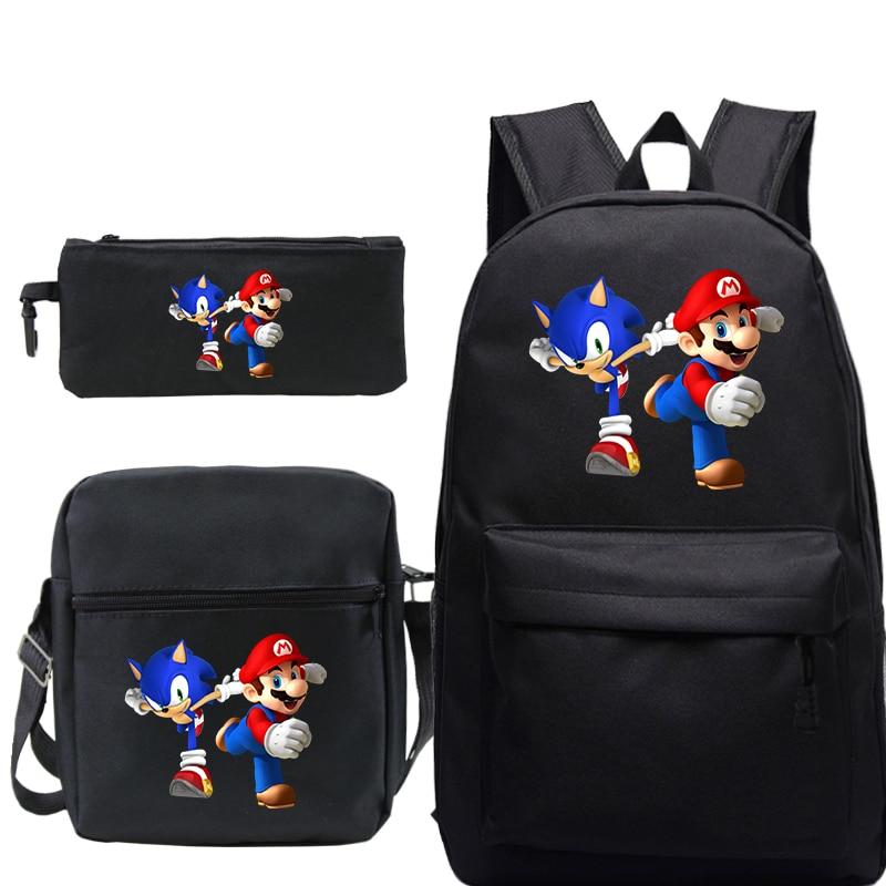 Super Mario Backpack Boys Anime Waterproof School Bag Girl Cartoon Shoulders Bag