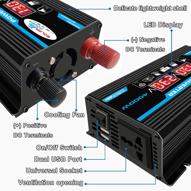 רכב מהפך 12V 220V 4000W מקסימום כוח מהפך מתח ממיר שנאי 12V כדי 110 V/ 220V Inversor + LCD תצוגת 2 USB