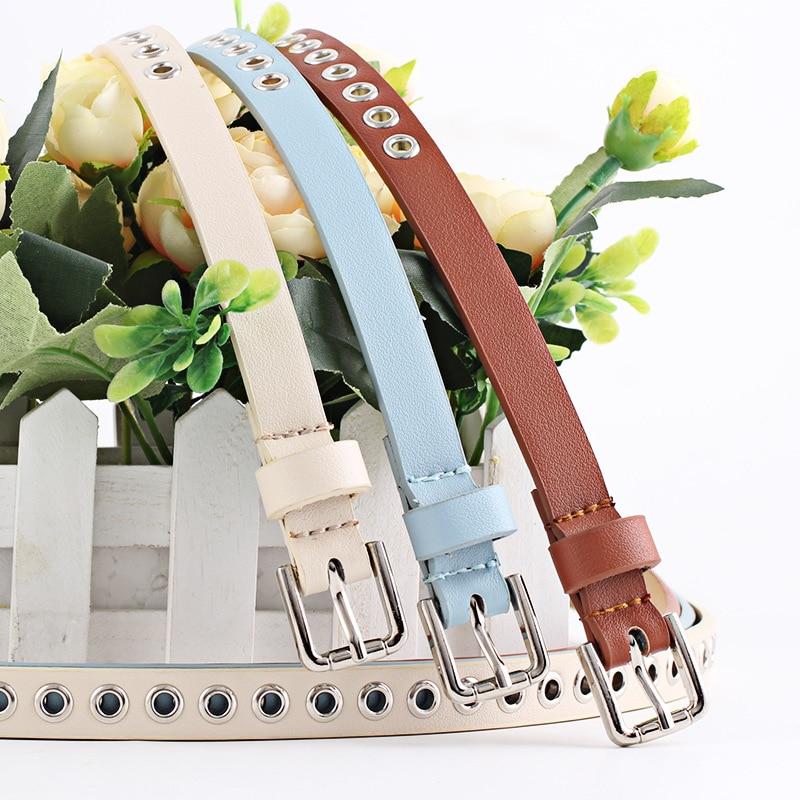 New Strap Women Waist Belt Hollow Rivets Pu Leather Strap For Womens Slim Waistband Female Ladies Apparel Accessories