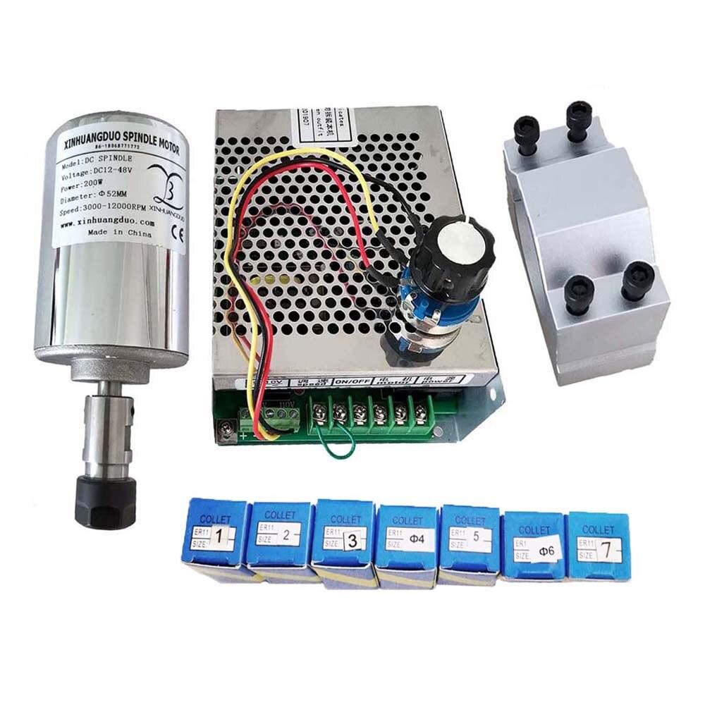 Комплект электродвигателя шпинделя с воздушным охлаждением с ЧПУ, патрон ER11/ER16, 200 Вт, 300 Вт, 400 Вт, 500 Вт, 12000 об/мин, электродвигатель шпинделя +...