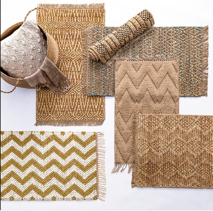 Hot Sale Jute Carpet Sitting Room Tea Table Bedroom Door Sisal Mat Porch Indoor Rug Handmade Straw Tatami Non-slip  Foot Mat