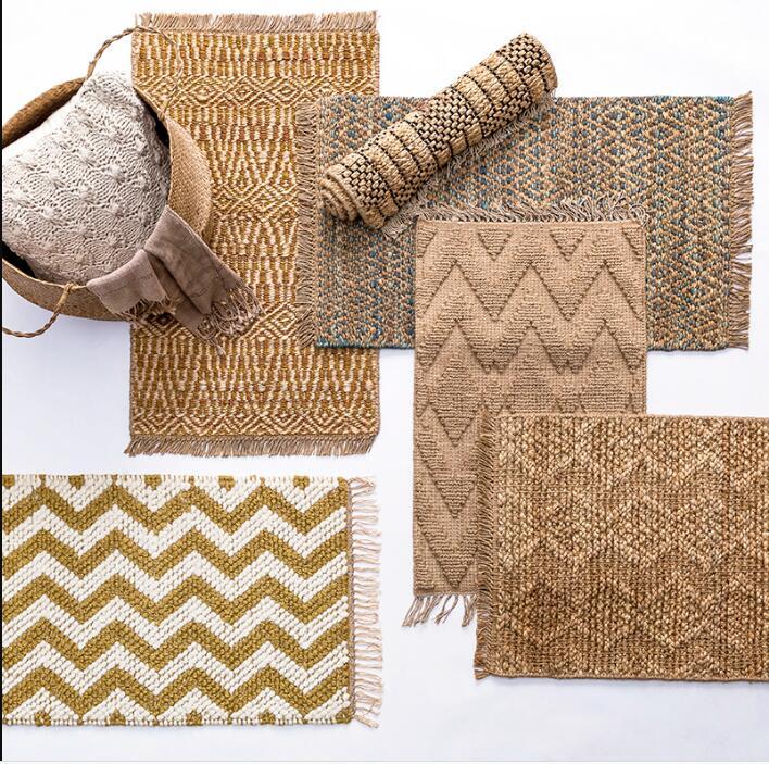 Offre spéciale Jute tapis salon thé Table chambre porte Sisal tapis porche intérieur tapis fait à la main paille Tatami antidérapant tapis de pied