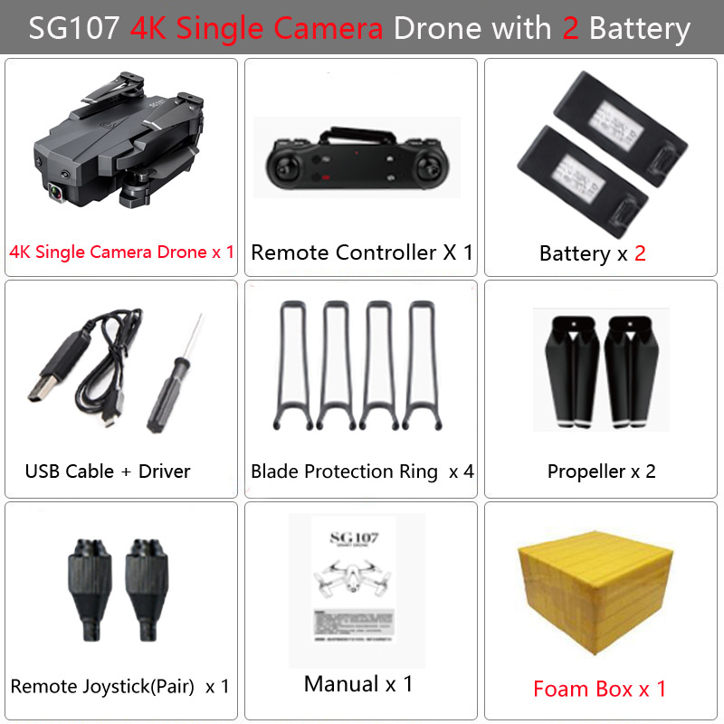 LAUMOX SG107 Mini RC Drone FPV Quadcopter With WIFI 4K 1080P Camera FPV 2.4GHZ Optical Flow Collapsible Dron VS E58 SG106 XS816