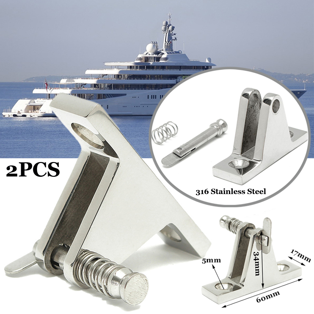 Deck Hinge 2 Piece <font><b>Boat</b></font> <font><b>Bimini</b></font> <font><b>Top</b></font> Fitting 90 Degree Pin Stainless Steel Accessory Other Vehicle Parts Marine Hardware image