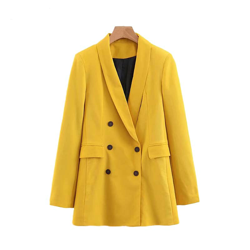 Women Chic Yellow Blazer Pockets Double Breasted Long Sleeve Office Wear Coat Solid Female Casual Outerwear Tops CA365