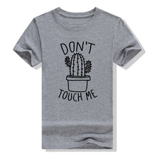 Ladies White Tops Dont Touch Me Cactus Print Women T-shirt Summer Casual Loose Tee Short Sleeve O Neck t-shirt