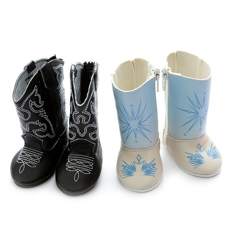 Doll Shoes Doll Accessories Fit 43cm 17-18 Inch Blue Black Short Boots For Baby Birthday Gift
