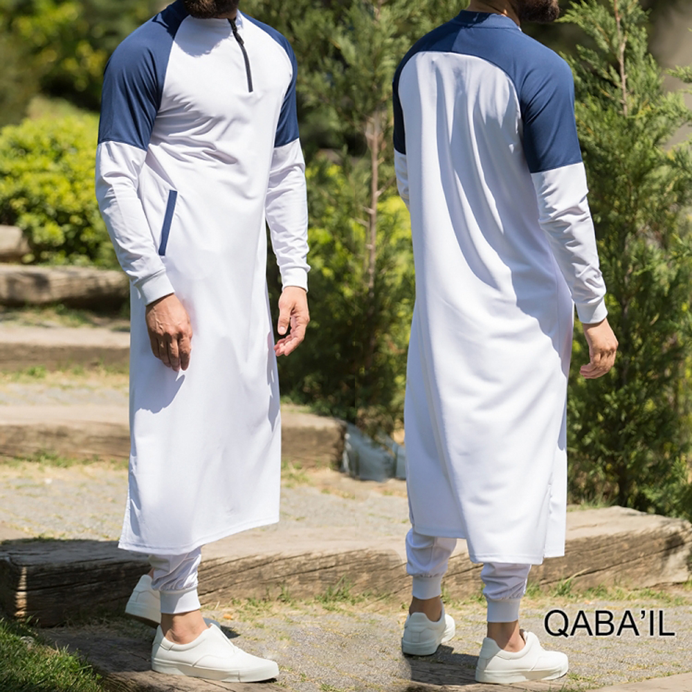 Mens Long Sleve Saudi Style Thobe Jubba Arab Robe dishdash Islamic 52-60