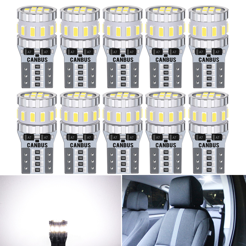 10pcs <font><b>T10</b></font> W5W <font><b>LED</b></font> Bulbs <font><b>Canbus</b></font> For Car Parking Position Lights Interior Light For BMW <font><b>VW</b></font> Mercedes Audi A3 8P A4 6B BMW E60 E90 image