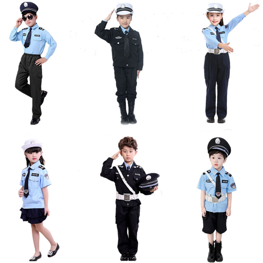 Cosplay Disguise Role Play Policemen Carnival Halloween Costume For Kids Party Fancy Toys Traffic Police Uniform With Cap Set